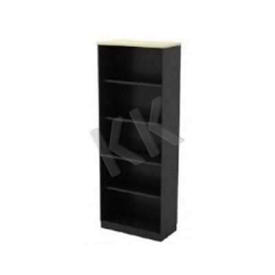 Maple & Dark Grey Office High Open Shelf Cabinet