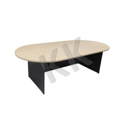 Maple & Dark Grey Oval Conference Table 2400W
