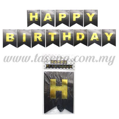 Banner Happy Birthday *Black - Big (P-BN-HBBL)