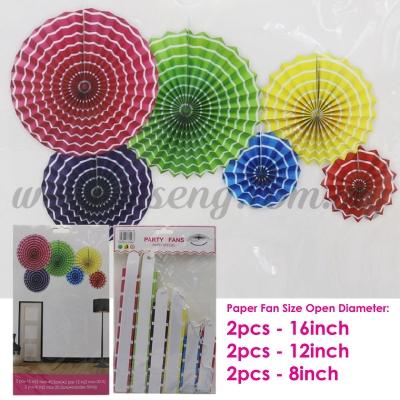 Paper Fan * Stripe Mix Colour - 6pcs (PD-PF-80103)