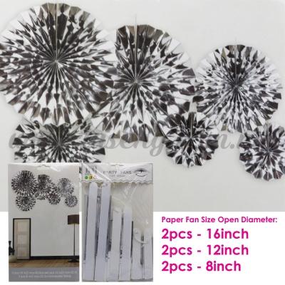 Paper Fan * Shining Silver - 6pcs (PD-PF-80188)