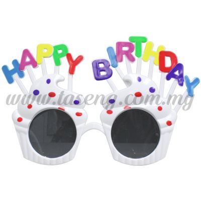Sunglasses Happy Birthday Cup Cake - White (DU-SGHB-04W)
