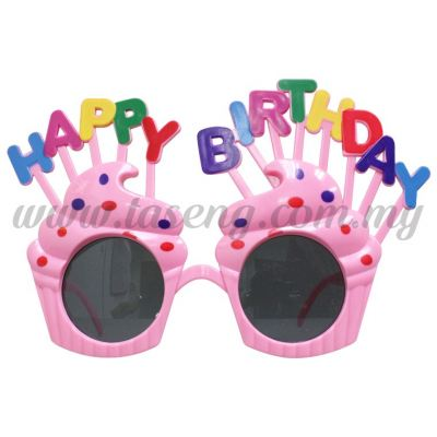 Sunglasses Happy Birthday Cup Cake - Baby Pink (DU-SGHB-04BP)