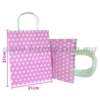 Paper Bag Polka Dot Baby Pink *10pcs (PPB-PD3-BP)