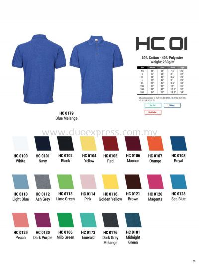 Oren HC01 Baju Cotton Polo Tee Unisex