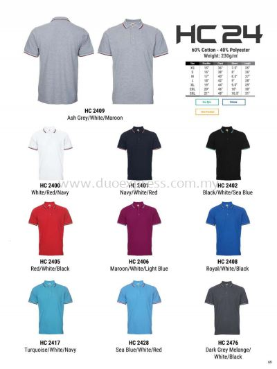 Oren HC24 Baju Cotton Polo Tee Unisex