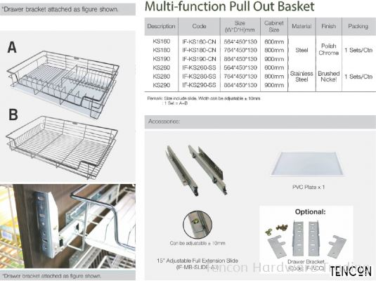 Multi-function Pull Out Basket (600mm KS160, 800mm KS180, 900mm KS190)