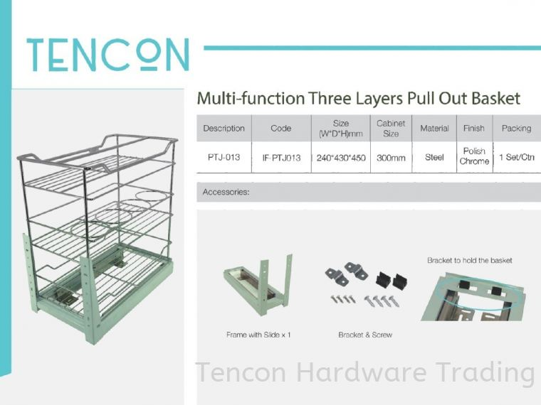 Multi-Function Three Layers Pull Out Basket (PTJ-013) Multi-Function Three Layers Pull Out Basket (PTJ-013) $ Basic Standard (chrome steel, No Soft Close) TENCON Kitchen Cabinet