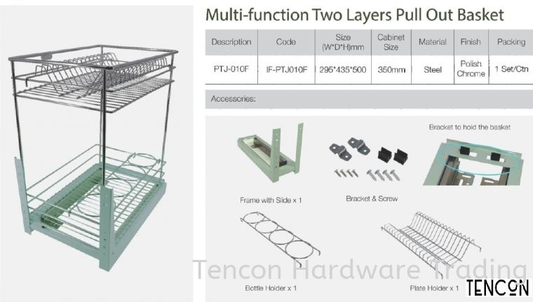 Multi-Function Two Layers Pull Out Basket (PTJ-010F) Multi-Function Two Layers Pull Out Basket (PTJ-010F) $ Basic Standard (chrome steel, No Soft Close) TENCON Kitchen Cabinet
