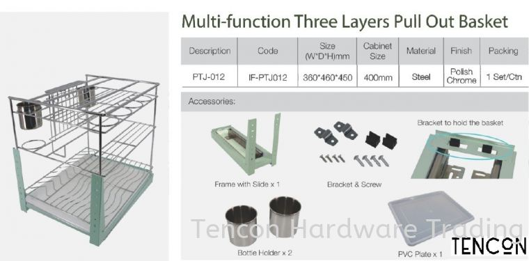 Multi-Function Three Layers Pull Out Basket (PTJ-012) Multi-Function Three Layers Pull Out Basket (PTJ-012) $ Basic Standard (chrome steel, No Soft Close) TENCON Kitchen Cabinet