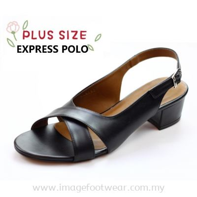 Express Polo Plus Size Ladies Sandal with 1.2 Inch Heel - SL- 9192- BLACK Colour
