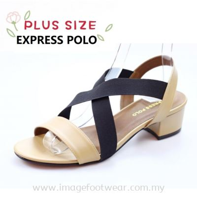 Express Polo Plus Size Ladies Sandal with 1.2 Inch Heel - SL- 9193- ALMOND Colour