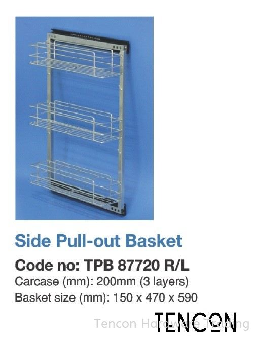 Side Pull-out Basket (200mm TPB87720 R/L) Side Pull-out Basket $$$$$ Grade 304 (18-8) Stainless Steel TENCON Kitchen Cabinet