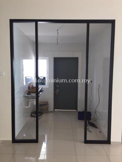 hanging sliding doors + p/c ( black + brown glass)