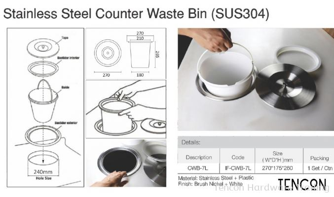 Stainless Steel Counter Waste Bin (SUS304) CWB-7L