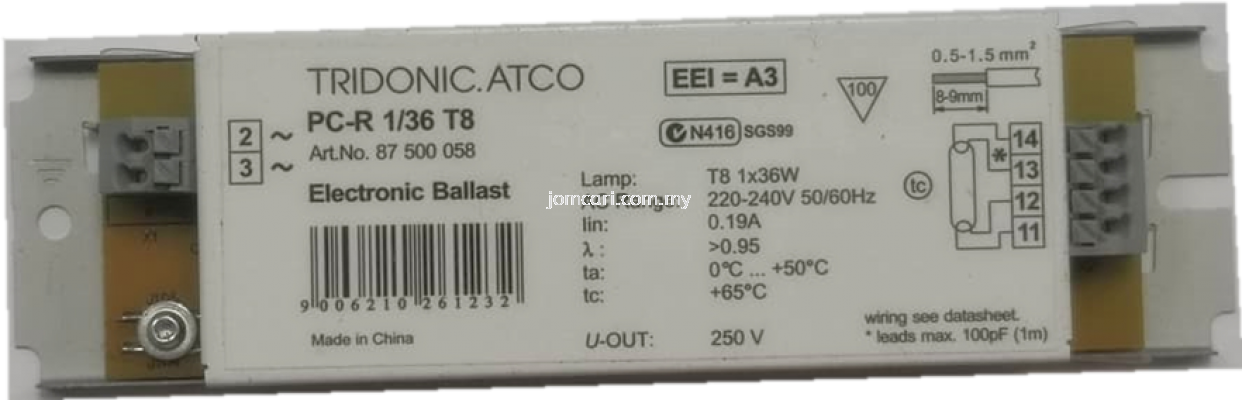 TRIDONIC.ATCO PC-R 1/36 T8 (Not Dimmable)
