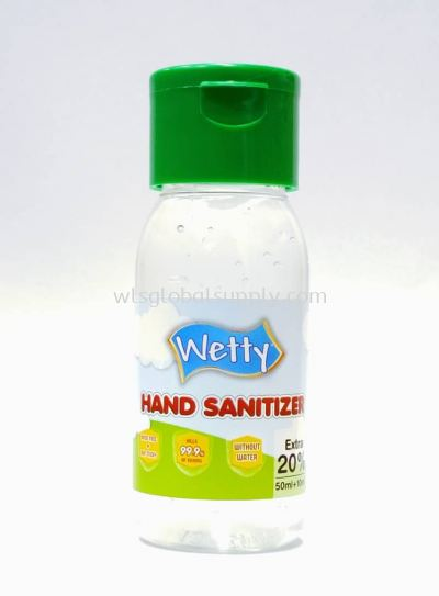 Wetty Antibacterial Hand Sanitizer 60ml (75% Alcohol)