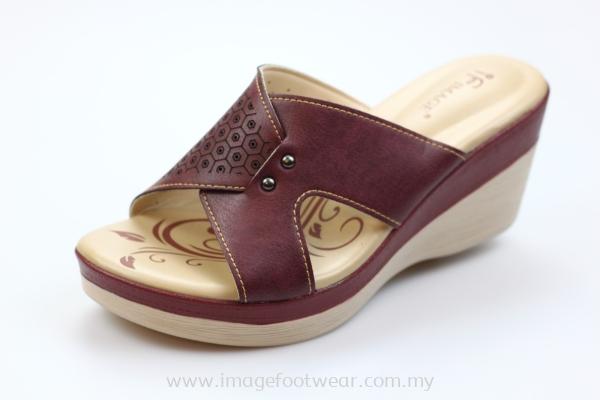 Ladies 2.5inch Comfort Slipper -LS 3016- MAROON Colour
