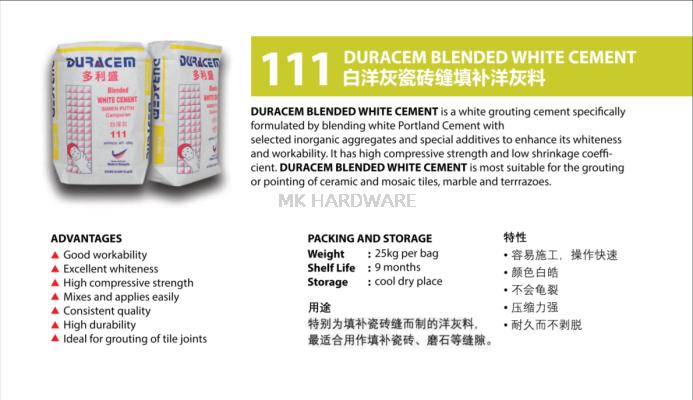 DURACEM 111 BLENDED WHITE CEMENT