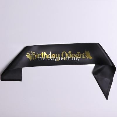 Sash- Birthday Queen - Black
