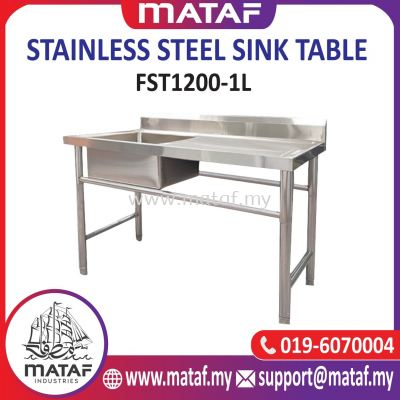 Stainless Steel Commercial Single Bowl Kitchen Sink with Drainboard Side Table (LEFT) FST1200-1L