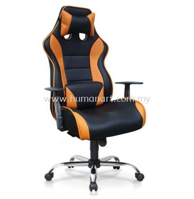 GAMING CHAIR 1 C/W FIXED ARMREST & CHROME METAL BASE
