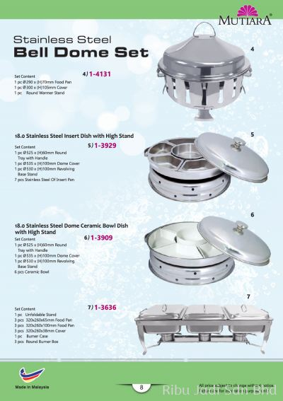 Stainless Steel Bell Dome Set