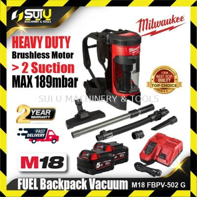 Milwaukee M18 FBPV-502G  FUEL Backpack Vacuum with HEPA Filter c/w 5.0Ah