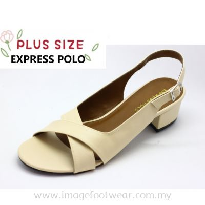 Express Polo Plus Size Ladies Sandal with 1.2 Inch Heel - SL- 9192- BEIGE Colour