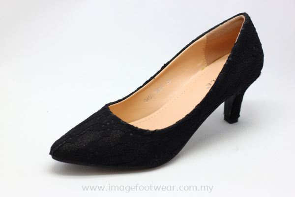 Lady Fashion Pointy Shoe with 2 Inch Heel - TF- 0450-189- BLACK Colour