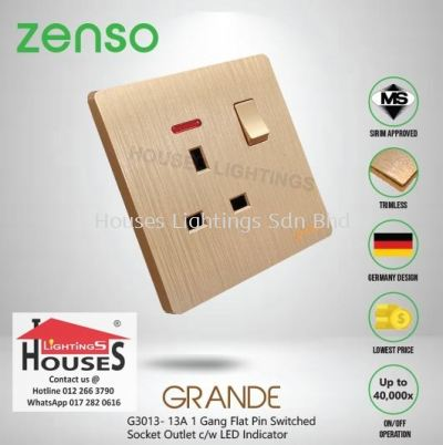 Zenso - Grande Series 13A Switched Socket Outlet with LED Indicator - Gold G3013