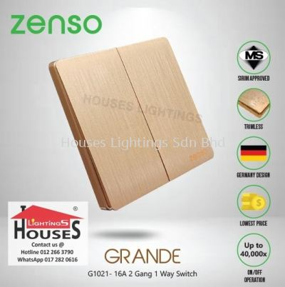 Zenso - Grande Series 2 Gang 1 Way Switch - Gold Color G1021