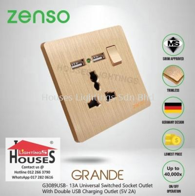 Zenso - Grande Series 13A Universal Switched Socket Outlet With Double USB Charging Outlet (5V 2A) - Gold G3089USB