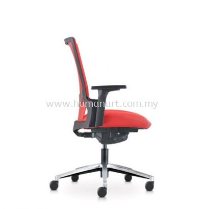 OTISY MEDIUM BACK ERGONOMIC LEATHER CHAIR C/W ALUMINIUM BASE AOT8811P-18D95