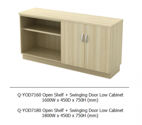 Q-YOD7160 Open Shelf + Swinging Door Low Cabinet 1600W x 450D x 750H (mm)
