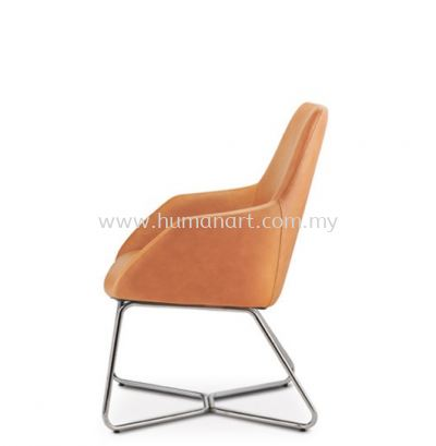 ANTHOM EXECUTIVE VISITOR MEDIUM BACK LEATHER CHAIR C/W CHROME CANTILEVER BASE AT6611L-91C