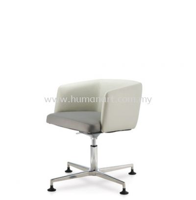 ANTHOM EXECUTIVE LOW BACK LEATHER CHAIR C/W 4 PRONGED ALUMINIUM BASE WITH STUD AT6632L-15