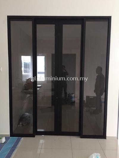 aluminium p/c Black + brown glass