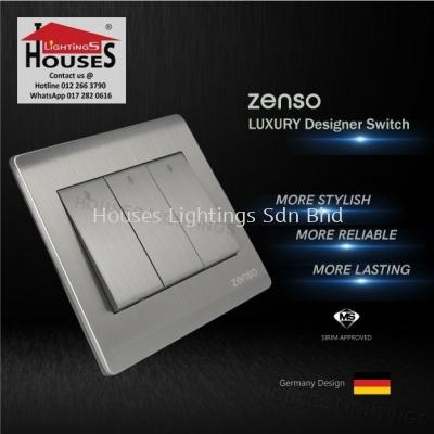 Zenso - Metallo Series 3 Gang 2 Way Switch - Aluminium Silver S1032-S