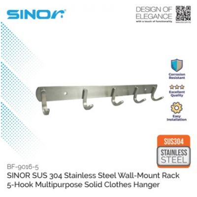 SINOR BF-9016-5 SUS304 Stainless Steel Wall-Mount Clothes Hanger 5 Hook
