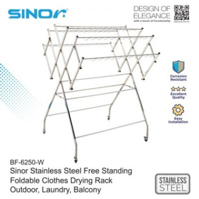 SINOR BF-6250-W Stainless Steel Free Standing Foldable Clothes Drying Rack