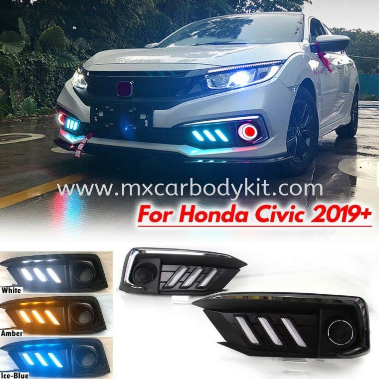 HONDA CIVIC 2020  FACELIFT MUSTANG FOG LAMP COVER WITH DAYLIGHT CIVIC FC 2020 FACELIFT HONDA
