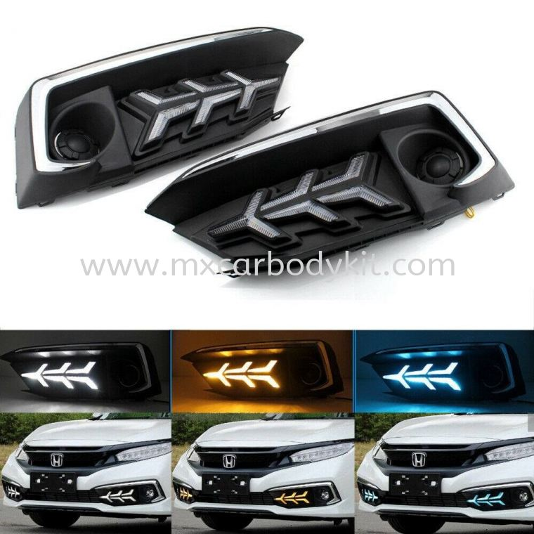 HONDA CIVIC 2020 FACELIFT LAMBO STYLE FOG LAMP COVER WITH DAYLIGHT  CIVIC FC 2020 FACELIFT HONDA