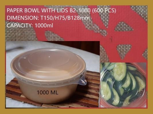 PAPER BOWL WITH LIDS B2-1000 (600 PCS)