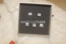 Crystal Clear Square Fang Button