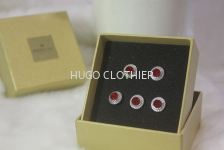 Round Red Button with Silver Border