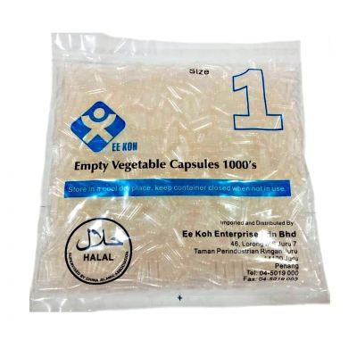 EE KOH EMPTY VEGETABLE CAPSULES 1000'S SIZE 1