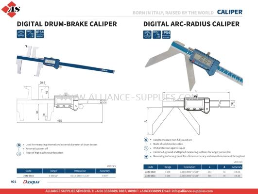 DASQUA Digital Drum-Brake Caliper / Digital Arc-Radius Caliper