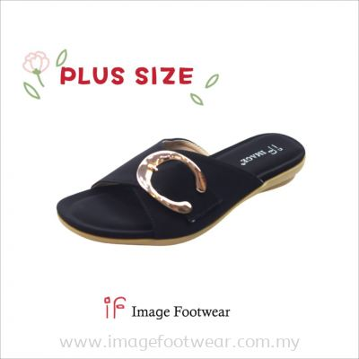 PlusSize Women Flat Slipper- PS-231-8 BLACK Colour