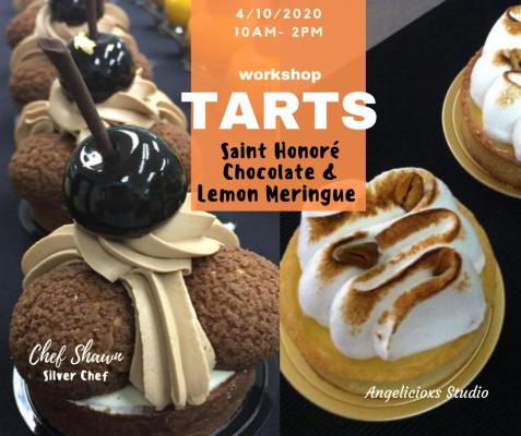 Saint Honore Chocolate & Lemon Meringue Tarts